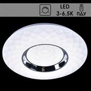 Светильник потолочный светодиодный MT2043/350, диаметр 400мм, 2x27W LED, 3000-6500K, диммер, ПДУ, HN20, WT+CR белый/хром