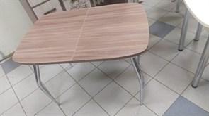 Стол обеденный Марс, раздвижной, 1340x690x740мм, с ящиком, ЛДСП 22мм, опора металлическая, шимо темный