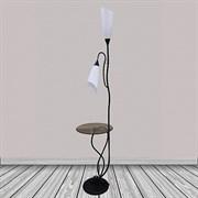 Торшер со столиком 8821 BTH15, 2x40W, E27, высота 1780мм, черный/белый плафон пластик