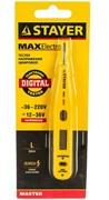 Тестер напряжения STAYER MAX ELECTRO цифровой со световым индикатором, 125мм, 12-220В