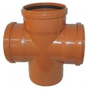 Крестовина для наружной канализации одноплоскостная 110/110/110мм, угол 87 градусов, полипропилен, рыжая