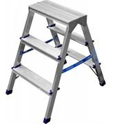Лестница-стремянка СИБИН 38825-03, 3 ступени, рабочая высота 2.75м, двухсторонняя, алюминиевая