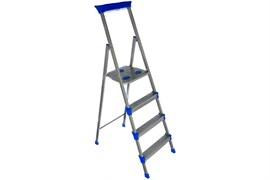 Лестница-стремянка NIKA СМ4, 4 ступени, рабочая высота 3.04м, стальная, с широкими ступенями