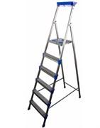 Лестница-стремянка NIKA СМ6, 6 ступеней, рабочая высота 3.485м, стальная, с широкими ступенями