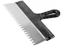 Шпатель зубчатый СИБИН 10078-15-04, 150мм, фасадный, зубья 4x4мм, полотно нержавеющая сталь, пластиковая ручка