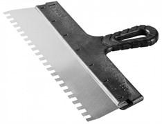 Шпатель зубчатый СИБИН 10078-25-04, 250мм, фасадный, зубья 4x4мм, полотно нержавеющая сталь, пластиковая ручка