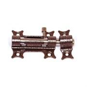 Засов дверной Делга, 75x60мм, оригинальный, накладной, круглый ригель, сталь, медь