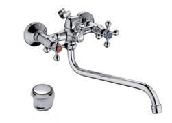 Смеситель для ванны LEDEME L2117, излив 300мм, двухвентильный, латунь, хром