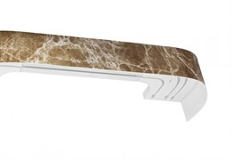 Карниз Мармарос, 3-рядный, 1.6м, багетный для штор, с поворотами, Оникс темный, бленда 7см