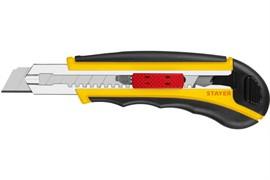 Нож с автостопом STAYER HERCULES-18, с дополнительным фиксатором, с сегментированным лезвием, с автозаменой лезвий, 8 запасных лезвий в комплекте, 18мм