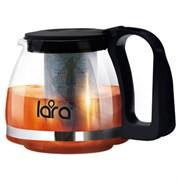 Чайник заварочный LARA LR06-07, 700мл, стальной фильтр, боросиликатное стекло