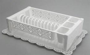 Сушилка для посуды Кружево М6283, 530x340мм, пластиковая, белая