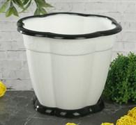 Горшок для цветов Восторг, 1.5л, с поддоном, пластиковый, белый
