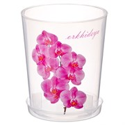 Горшок для орхидеи, 1.2л, с поддоном, пластиковый, прозрачный