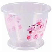 Горшок для орхидеи Флора, 2л, с поддоном, пластиковый, прозрачный