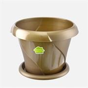 Кашпо Флориана,  0.7л, диаметр 135мм, с поддоном, пластиковое, золотое