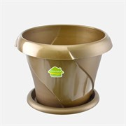 Кашпо Флориана, 1.4л, диаметр 170мм, с поддоном, пластиковое, золотое