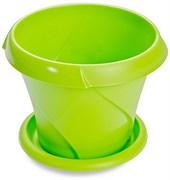 Кашпо Флориана, 1.4л, диаметр 170мм, с поддоном, пластиковое, салатовое