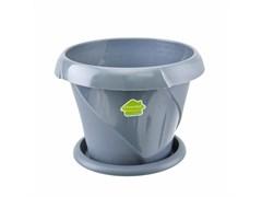 Кашпо Флориана, 2.8л, диаметр 215мм, с поддоном, пластиковое, серое