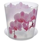 Кашпо IDEA Деко Орхидея, 1.2л, диаметр 125мм, с подддоном, пластиковое