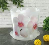 Кашпо IDEA Деко Орхидея белая, 1.2л, диаметр 125мм, с поддоном, пластиковое
