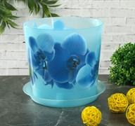 Кашпо IDEA Деко Орхидея голубая, 1.2л, диаметр 125мм, с поддоном, пластиковое