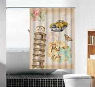 Шторка для ванной комнаты тканевая Пизанская башня MZ-109, 180x180см, водонепроницаемая