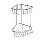 Полка для принадлежностей ванной Санакс 75052, угловая, овальная, двойная, 18см, нержавеющая сталь