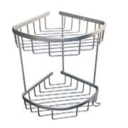 Полка для принадлежностей ванной Санакс 75061, угловая, овальная, двойная, 18см, алюминиевая