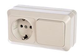 Блок горизонтальный UNIVersal Олимп О0032, розетка и одноклавишный выключатель, с заземлением, белый