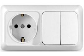 Блок горизонтальный UNIVersal Олимп О0033, розетка и двухклавишный выключатель, с заземлением, белый