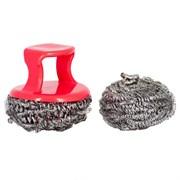 Губка/мочалка для посуды MasterHouse 60593, Мой Легко, диаметр 6.5см, спираль металл + 1ручка, набор 2шт