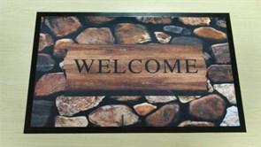Коврик придверный Принт Добро пожаловать (сад), 45х75см, резиновый с ПВХ