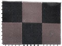 Коврик-травка входной грязезащитный 420x560мм, пластиковый, черно-коричневый