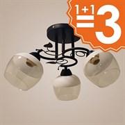 Люстра подвесная 3-рожковая 4636/3, диаметр 520мм, 3х40W, E27, AB+WT черный