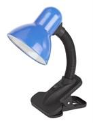 Лампа настрольная Эра N-102, 40W, E27, синий, на прищепке