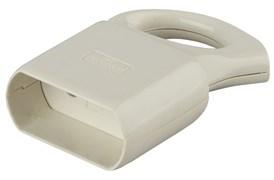 Розетка кабельная штепсельная Эра R1, 10А, с кольцом, угловая, без заземления, белая