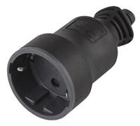 Розетка кабельная штепсельная Эра R4B, 16А, прямая, с заземлением, черная