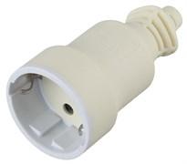 Розетка кабельная штепсельная Эра R4W, 16А, прямая, с заземлением, белая