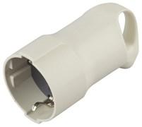 Розетка кабельная штепсельная Эра R3, 16А, с кольцом, угловая, с заземлением, белая