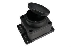 Розетка кабельная одноместная ASD 9321, открытой проводки, 16А, IP44, с заземлением, с заглушкой, каучук, черная
