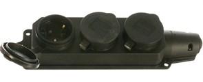 Розетка кабельная трехместная ASD 9323, открытой проводки, 16A, IP44, с заземлением, с заглушкой, каучук, черная