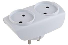 Тройник/разветвитель электрический Эра SP-2-W, 2 гнезда, без заземления, белый