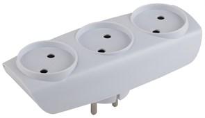 Тройник/разветвитель электрический Эра SP-3-W, 3 гнезда, без заземления, белый
