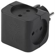 Тройник/разветвитель электрический Эра SP-4-B, 4 гнезда, без заземления, черный