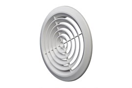 Решетка вентиляционная EVENT ПКР195, диаметр 195мм, круглая, без фланца, пластиковая, белая, наклонные жалюзи