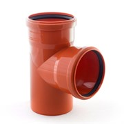 Тройник 110x110мм 87 градусов, для наружной канализации, полипропиленовый, оранжевый